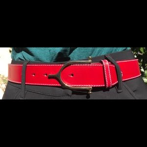 Red Leather Belt with English Spur Buckle
